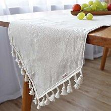 ZZFF White Linen Table Runner,Heavy Duty Farmhouse