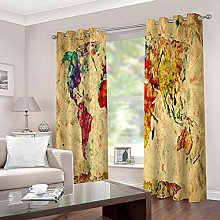ZZFJFQ 3D Window Blackout Curtain Abstract & Map