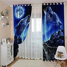 ZZFJFQ 3D Window Blackout Curtain Blue & Wolf