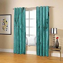 ZZFJFQ 3D Window Blackout Curtain Blue & Wood