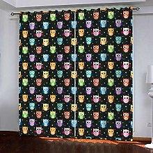 ZZFJFQ 3D Window Blackout Curtain Color & Owl