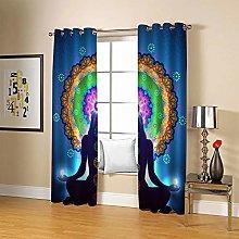 ZZFJFQ 3D Window Blackout Curtain Flowers & Yoga