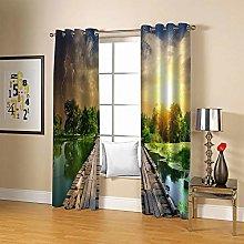 ZZFJFQ 3D Window Blackout Curtain Forest & Wooden