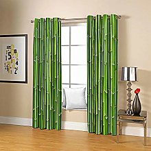 ZZFJFQ 3D Window Blackout Curtain Green & Bamboo