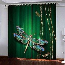 ZZFJFQ 3D Window Blackout Curtain Green &