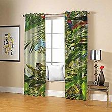 ZZFJFQ 3D Window Blackout Curtain Green&Leaf