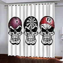 ZZFJFQ 3D Window Blackout Curtain Horror & Skull