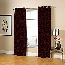 ZZFJFQ 3D Window Blackout Curtain Red & flowers