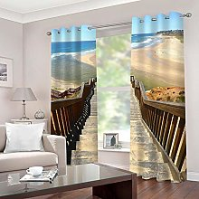 ZZFJFQ 3D Window Blackout Curtain Retro & Stairs
