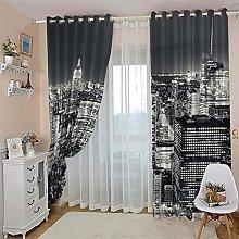ZZFJFQ 3D Window Blackout Curtain Retro & Urban