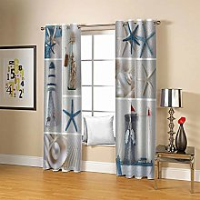 ZZFJFQ Blackout Curtains Bedroom Abstract & Sea