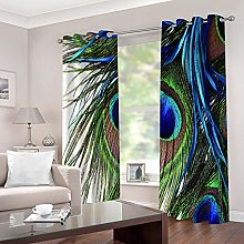 ZZFJFQ Blackout Curtains Bedroom Blue & Peacock