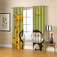 ZZFJFQ Blackout Curtains Bedroom cartoon animals