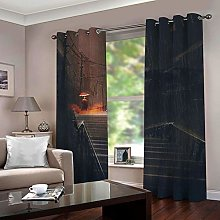 ZZFJFQ Blackout Curtains Bedroom Darkness & Stairs