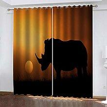 ZZFJFQ Blackout Curtains Bedroom Yellow & Rhino