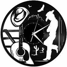 ZZLLL Country music vinyl wall clock gift for