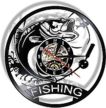 ZZLLL Fishing wall clock is made of real vinyl