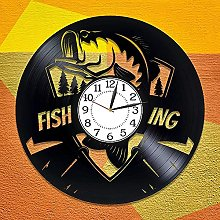 ZZLLL Handmade products fishing vinyl clock for