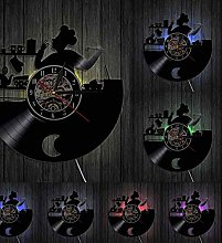 ZZLLL Kitchen Chef Vinyl Record Wall Clock Cooking