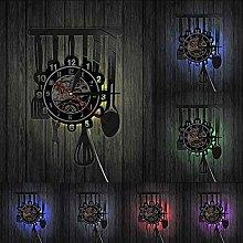ZZLLL Kitchen Tableware Vinyl Record Wall Clock