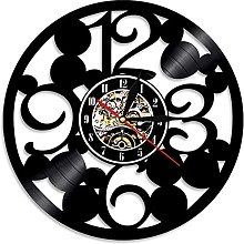 ZZLLL Large number vinyl record wall clock simple