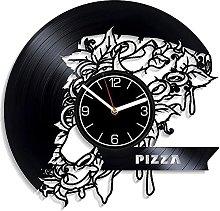 ZZLLL Pizza vinyl record wall clock kitchen