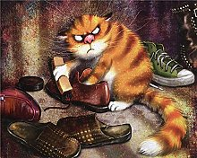 ZZLSWO Paint by Numbers, Shoe-shining animal cat