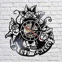 ZZNN Vinyl record wall clock Vinyl tattoo skull
