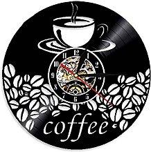 ZZQQQ Vinyl Wall Clock Coffee Shop Art Wall
