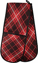 ZZXXB Black and Red Checkered Double Oven Mitt