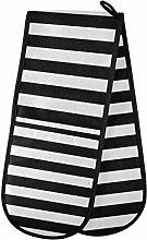 ZZXXB Black and White Striped Double Oven Mitt