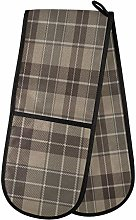 ZZXXB Brown Plaid Double Oven Mitt Heat Resistant