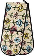 ZZXXB Colorful Daisy Floral Double Oven Mitt Heat