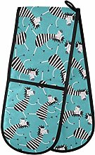 ZZXXB Dancing Zebra Double Oven Mitt Heat