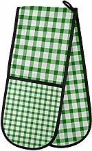 ZZXXB Green and White Checkered Double Oven Mitt