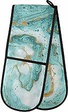 ZZXXB Marble Turquoise Double Oven Mitt Heat