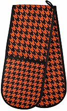 ZZXXB Orange and Black Houndstooth Double Oven