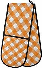 ZZXXB Orange Plaid Double Oven Mitt Heat Resistant