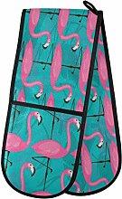 ZZXXB Pink Flamingo Double Oven Mitt Heat