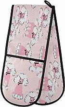 ZZXXB Pink Poodle Double Oven Mitt Heat Resistant