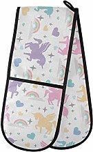 ZZXXB Rainbow Unicorn Love Heart Double Oven Mitt