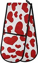 ZZXXB Red Love Heart Double Oven Mitt Heat