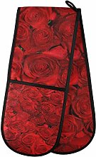 ZZXXB Red Rose Floral Double Oven Mitt Heat