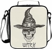 ZZXXB Skull Witch Insulated Lunch Bag Box Reusable
