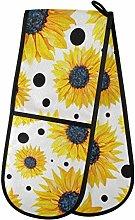 ZZXXB Sunflower Polka Dot Double Oven Mitt Heat