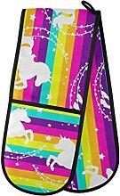ZZXXB Unicorn Rainbow Striped Double Oven Mitt