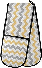 ZZXXB Yellow and Gray Chevron Double Oven Mitt