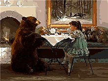 ZZYLCDT Paint by Numbers Girl animal bear