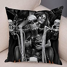 zzzddd Cushion Covers,Motorcycle Skull Sexy Girl