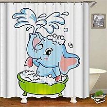 ZZZdz Cartoon. Bathing Elephant. Shower Curtain: